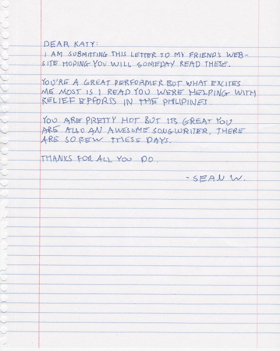 Fan letter to Katy Perry
