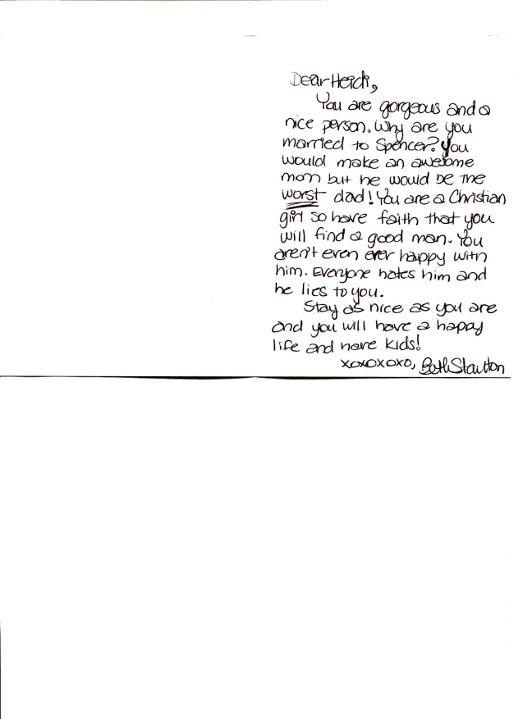 Heidi Montag Celebrity Fan Letter