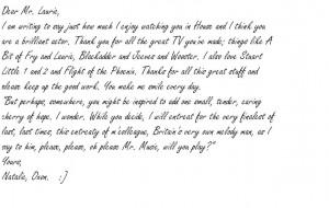 Celebrity fan letter Hugh Laurie